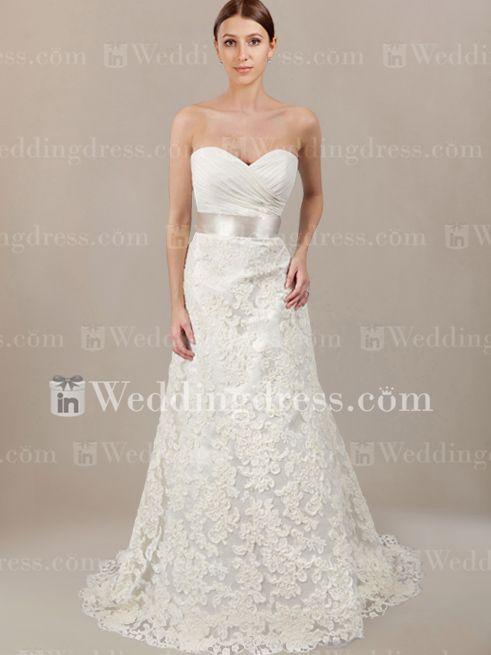 Strapless Organza Lace Destination Wedding Dress DE213 New - $289