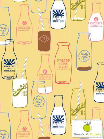 Pomelo & Pomelo via print & pattern ~ vintage milk bottles