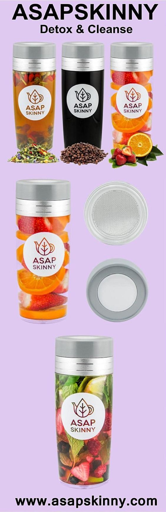 Detox & Cleanse with ASAPSKINNY! Our Versatile Tea Infuser Bottle comes with a FREE Removable Mesh Strainer/Steeper. Now You can Detox Any Time, Anywhere! Use it to Make Loose Leaf Tea, Fruit Infused Water or Coffee. Heal Your Body with Ease. Hurry, Selli
