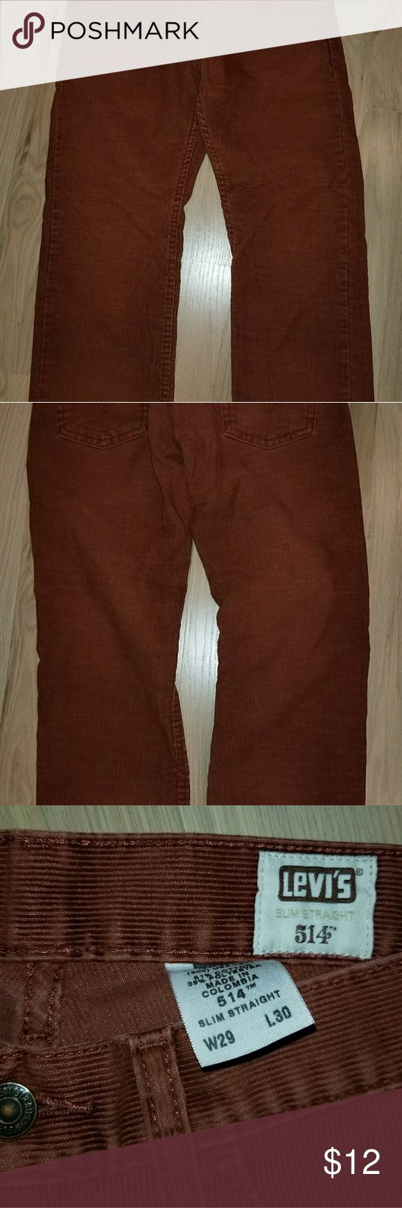 Levis corduroy jeans 514 straight leg burnt Orange cords.  Perfect for a Texas football game in the fall.  New and never worn perfect condition smoke/pet free home 29 waist 30 length Levi's Jeans Straight Leg