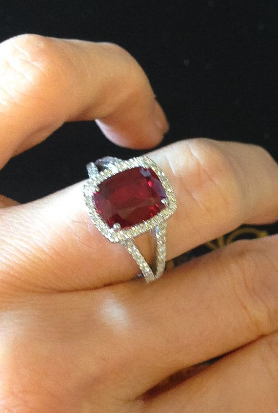 Ruby Diamond Halo Engagement Ring 14kt White Gold 10x8 Pigeon Blood Cushion Cut…