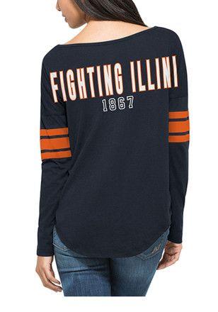 47 Illinois Fighting Illini Juniors Courtside Navy Blue LS Tee