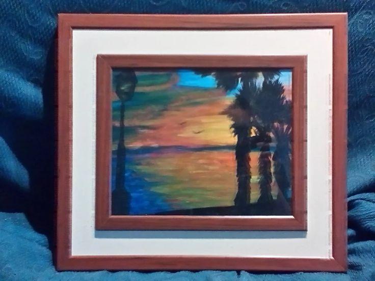 """Foto: """"tramonto"""" acrilico di 25x30 cm al prezzo di 30€ trattabili, con la cornice a 45€ trattabili"""