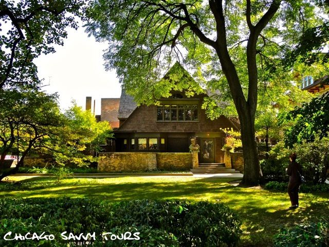 """The first house that Wright ever created was his own home in the Chicago suburb of Oak Park. Built in 1889, the young architect was only twenty-two years old when he designed his shingle style abode."""