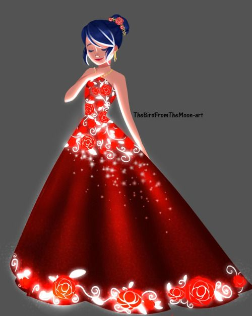Las Rosas son Rojas, El cabello de Marinette es Azul y a ella le queda hermoso aparte parece ladybug :D