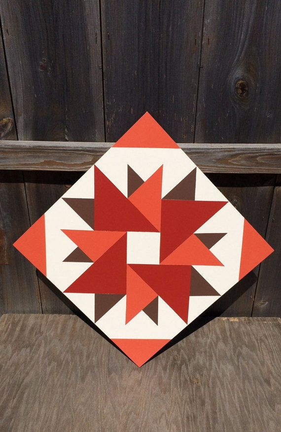 Hand painted rustic barn quilt. 1'x1', Double Aster pattern. Fall colors…