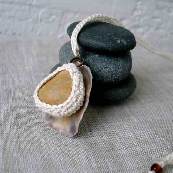 Crochet Stone Necklace - Mother of Pearl Pendant - Crochet Necklace - Crochet Jewelry - Beach Wedding Necklace - Sea Treasures via Etsy