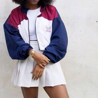 adidas adidas originals bomber jacket 90s style gold watch tennis skirt white skirt mini skirt jacket red white blue vintage