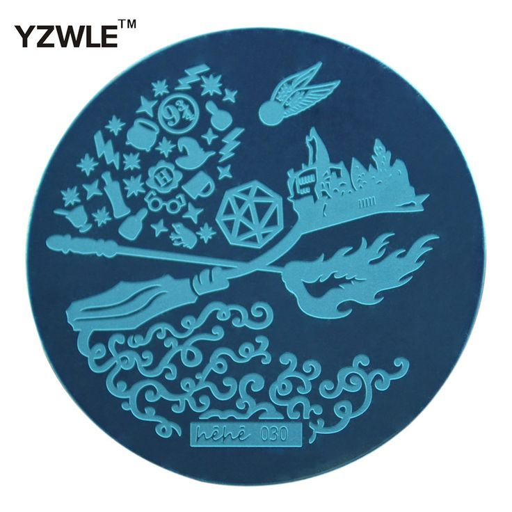 YZWLE 1 Pcs Stamping Nail Art Image Plate 5.6cm Stainless Steel Nail Stamping Plates Template For Nails Stencil Tools (hehe-030)