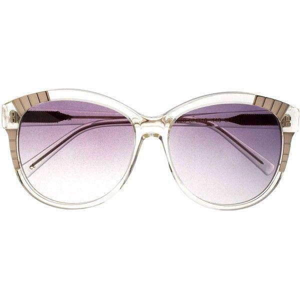 Heidi London - Decor Sunglasses Clear ($245) ❤ liked on Polyvore featuring accessories, eyewear, sunglasses, rounded sunglasses, clear sunglasses, white retro sunglasses, acetate sunglasses and clear glasses