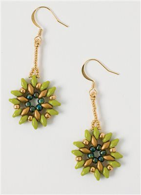 Beadwork, February/March 2015   FLORET EARRINGS - Tina Hauer