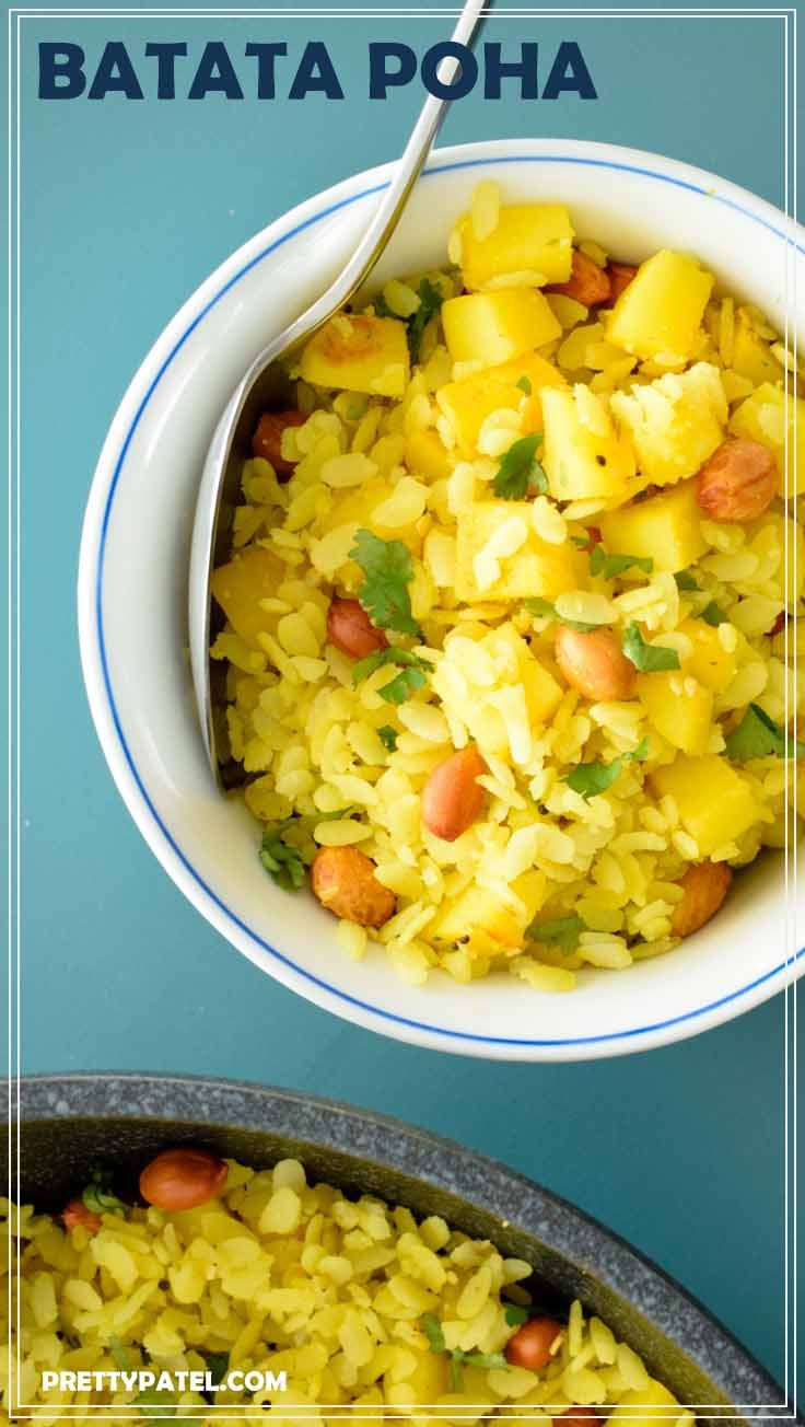 This Gujarati dish is made using flattened rice. Batata poha is typically eaten at breakfast or brunch. It's packed full of spices and is an Indian dish that will not disappoint. A vegan and gluten free recipe. Recipe by prettypatel.com via @pretty_patel