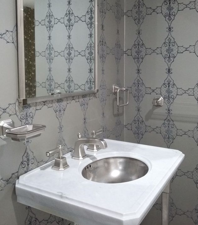 sherle wagner mid century concept wallpaper grey and dark blue harrison washbasin mixer and bathroom accessories in brushed nickel as it is on display at