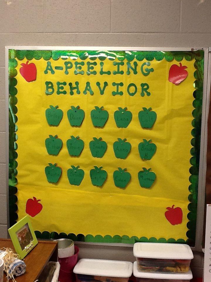 Classroom Decoration Charts For Kindergarten ~ Behavior bulletin board perfect for an apple theme