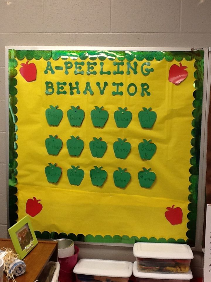 Classroom Theme Ideas Grade ~ Behavior bulletin board perfect for an apple theme