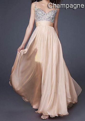 Vestido de fiesta color champagne con lentejuelas