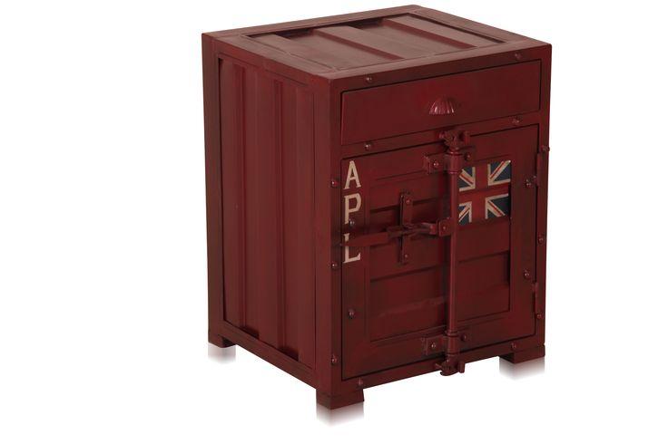 Containermöbel Kommode - Nachtschrank im Container-Look versandkostenfrei bestellen auf: http://moebeldeal.com/industrial-und-shabby/container/5380/industrial-chic-eisen-nachtschrank-nachttisch-container-look?number=WFGMBH-K44-sb-c-110_rot