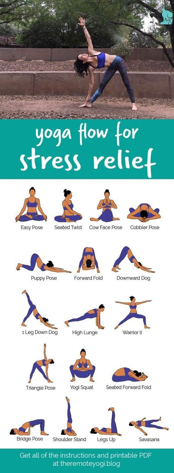 Yoga Flow For Stress Relief This printable PDF is the perfect thing to have …  – Yoga