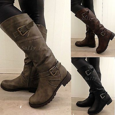 New Womens Knee Boots Slouchy Low Heel Biker Boots Fur Lined Winter Shoes Sz 3-8[KHAKI,6]