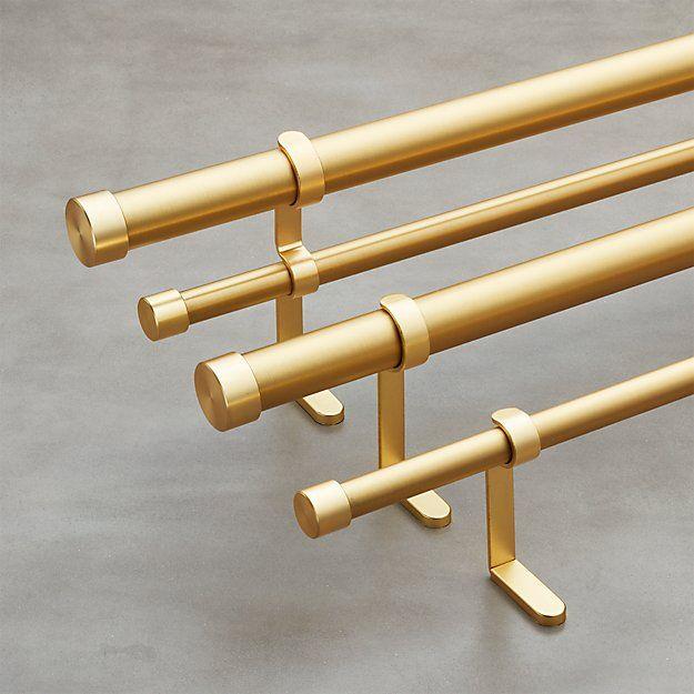Brushed Brass Double Rod Curtain Rod Set Cb2 Curtain Rods Brass Curtain Rods Double Rod Curtains