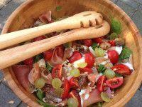 Recept, maaltijdsalade met parmaham en vijgen