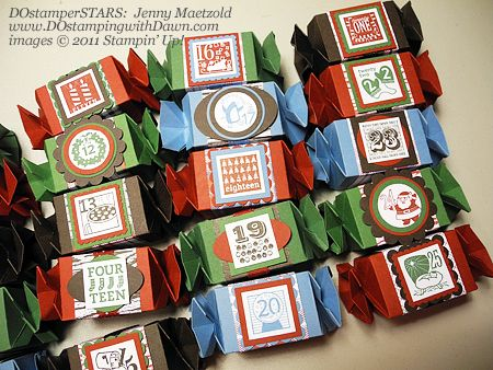 """Christmas Countdown Project, uses Stampin' Up! """"25 & Counting"""" stamp set and the """"Candy Wrapper"""" die cutter for The Big Shot."""