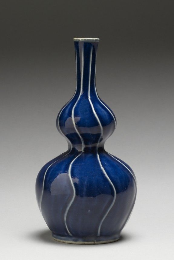 Arita ware - gourd shaped sake vessel 1675-1699 (Edo) porcelain with white beneath blue glaze 7 5/8 in. (19.3 cm)