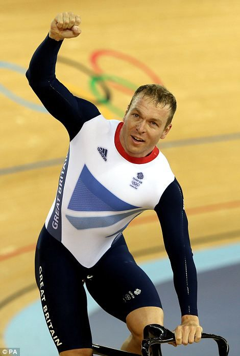 Great Britain's Chris Hoy celebrates winning Gold in the Mens Team Sprint Final - it's his fifth gold medal.