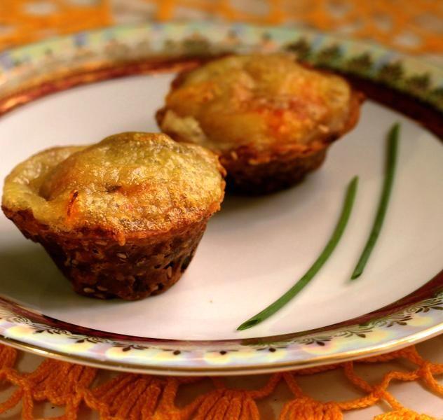 Empadinha de palmito e azeitonas marinadas