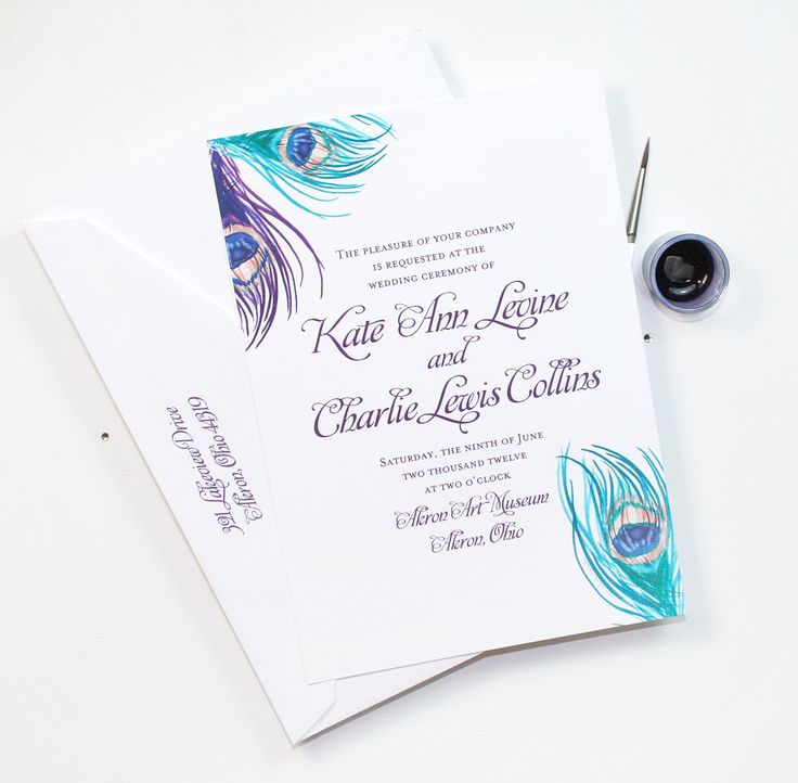 Wedding Invitation, Peacock Feathers Wedding Invitation, Purple Blue Wedding Invitation, Wedding Invitation Set, Feathers Invitation Sample by MospensStudio on Etsy https://www.etsy.com/listing/510068204/wedding-invitation-peacock-feathers