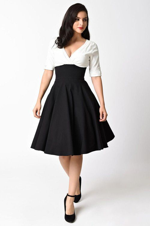 Unique Vintage Black & White Dolores Swing Kleid dress jurk zwart wit