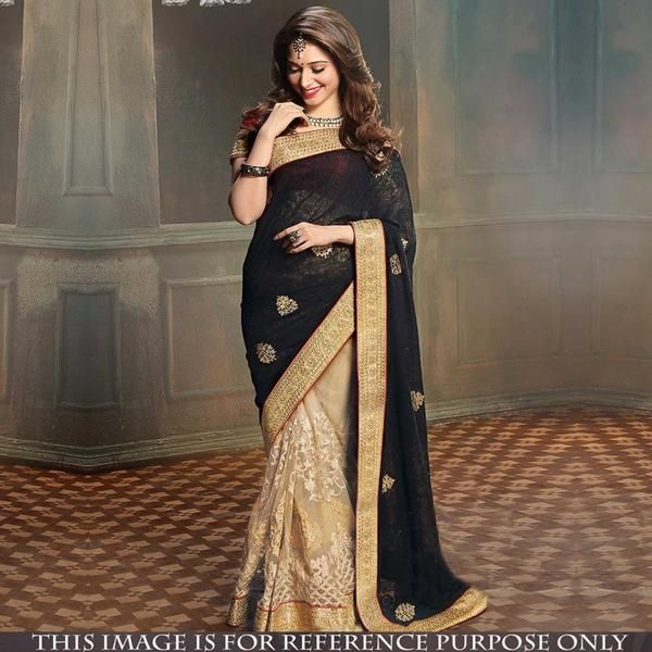 Black And Beige Half And Half Style Bollywood Sarees With Zari Embroidery, Patch And Lace Border Work