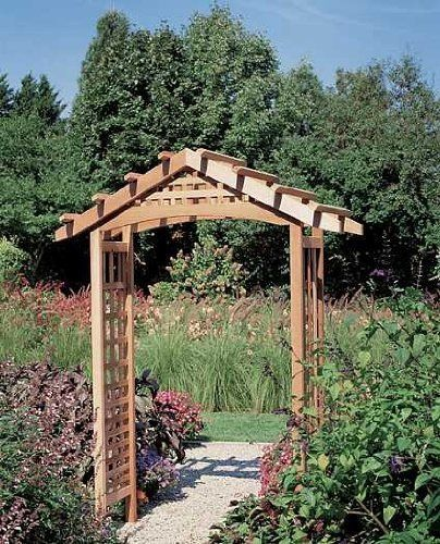 Hampden Garden Arbor . $519.97. Gateway to paradiseReal cedar44 x 97 x 17.5 inches. After all your hard work, the path to your gardens should be a gateway to paradise, so that when visitors walk through it, they are entering a world of glorious, natural beauty.  What better way to frame the entrance to your own private wonderland, than with a handsome Hampden arbor made of real cedar?  The latticework sides rise to an open peaked roof, with slats that will hold vines ...