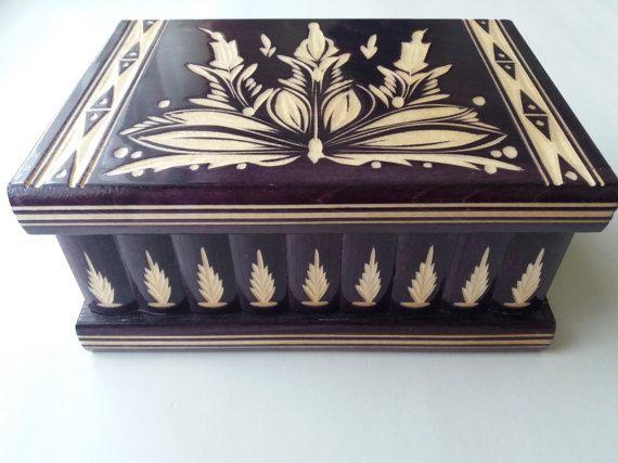 Violeta profundo enorme grande nuevo puzzle caja tesoro secreto aventura misterio caza mágica caja almacenamiento madera caso pecho escondido cajón joyero