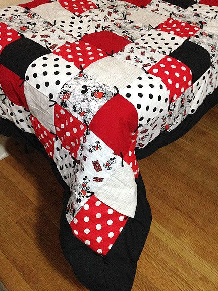 Mickey Mouse Disney Full Size Quilt Handmade w/ Flannel by Pyrette