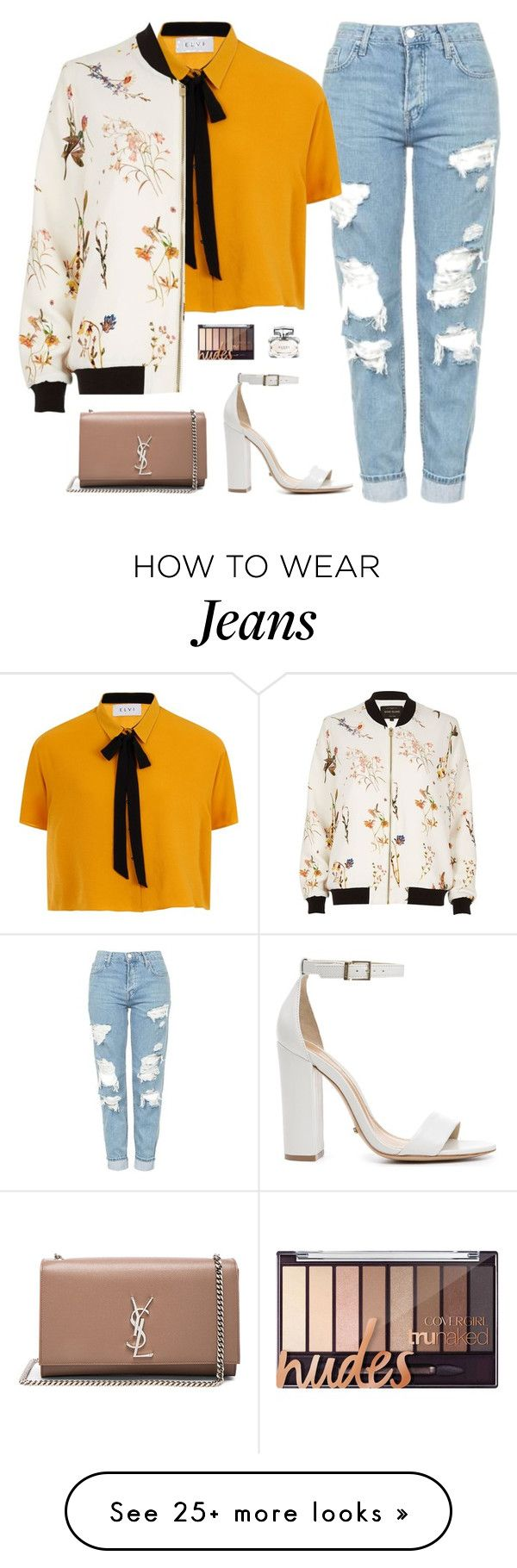 """""""Untitled #2240"""" by lauraafreedom on Polyvore featuring Topshop, Elvi, River Island, Schutz, Yves Saint Laurent and Gucci"""