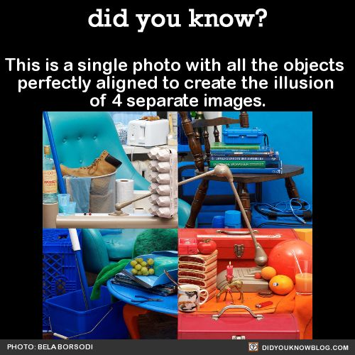This is a single photo with all the objects perfectly aligned to create the illusion of 4 separate images.   Here it is from another angle:   There's also a stop-motion video that shows how it was made.   Source