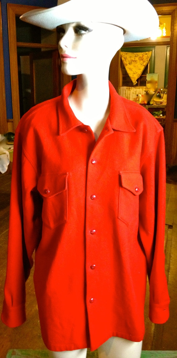 Vintage GWG 100 Red Wool Sport Togs Shirt by TheJavaShop on Etsy, $65.00