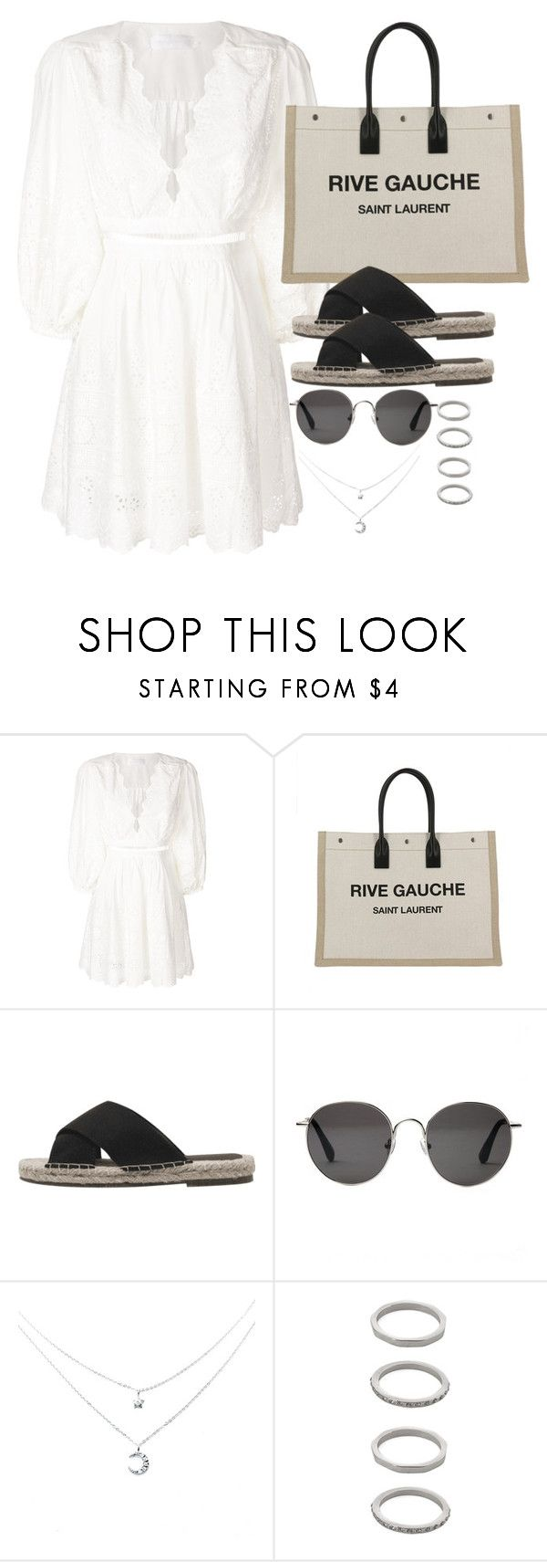 """Untitled #5215"" by theeuropeancloset ❤ liked on Polyvore featuring Zimmermann, Yves Saint Laurent, The Row and Forever 21"