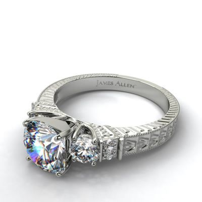 Vintage Engagement Setting in Platinum - Ring price excludes center diamond.