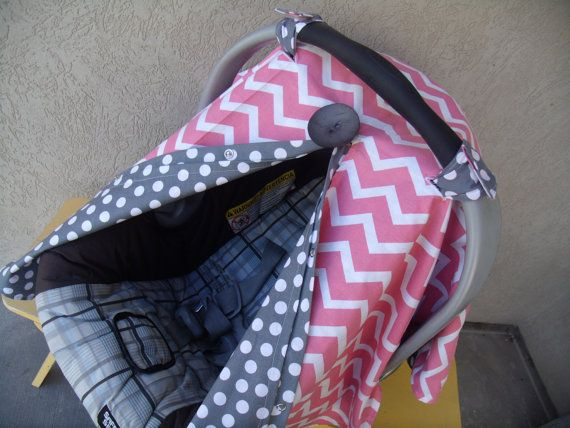 Carseat+Canopy+Coral+Chevron+Grey+Dot+by+fashionfairytales+on+Etsy,+$38.99