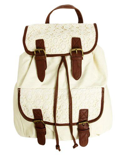 This is a cute backpack to where to school. It has plenty of storage, I also noticed it has a very pretty lace design at the top.