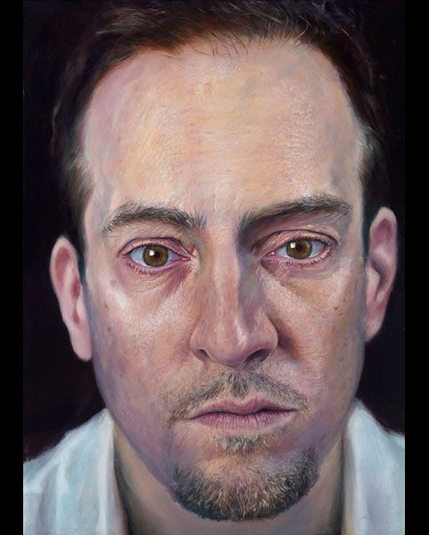 Derren Brown, he can paint, he can mess with your mind... genius! 'Self' acrylic on canvas 2011