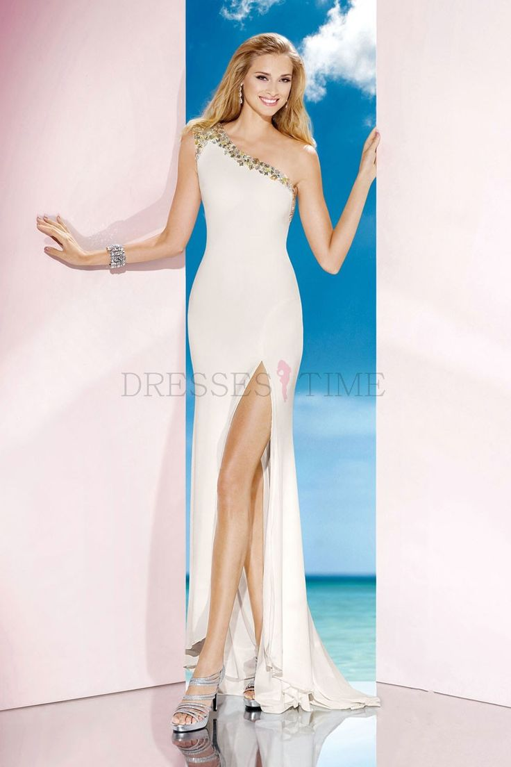 Buy Sexy Long White Chiffon Brush Train One Shoulder Column Natural Waist Prom Dress/Evening Dress CHPD-70247 Prom Dresses 2015 under $142.99 only in DressesTime.