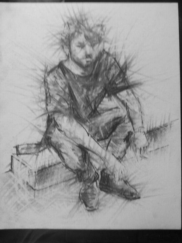 Giovane disegno a grafite