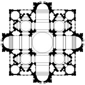 This is plan 1 of 3. The plan is based on a square, superimposed on a cross with arms of equal length. The cross makes the main sections of ...