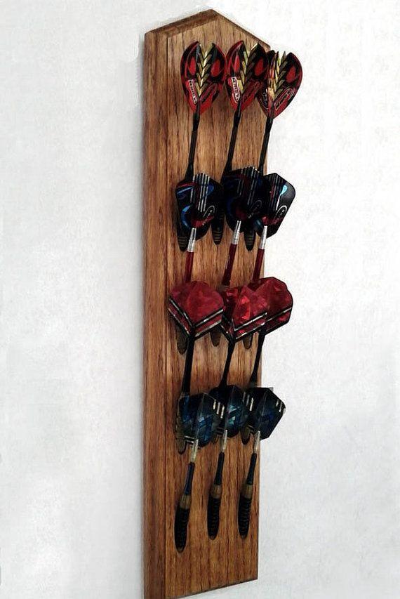 Handcrafted Oak Dart Holder Wall Mount Display Rack. Game Room, Home Bar & Man Cave Decor. Dart, Dart Cabinet and Dartboard Accessories.