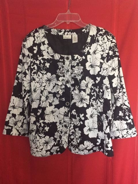 Kim Rogers Light Jacket Size XL Cotton Spandex Deep Scoop Neck Button F. Ruffled #KimRogers #ButtonDownJacket #Career