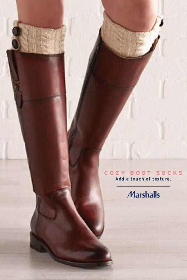 In cooler temps, cozy boot socks are a girl's best friend! The textured cable knit will add a little interest to your favorite riding boots — and keep you extra warm. Pair with skirts and dresses to give them way more wear, or layer over leggings and denim. Visit Marshalls today for these cold weather essentials. You'll love your new boot socks all season long!