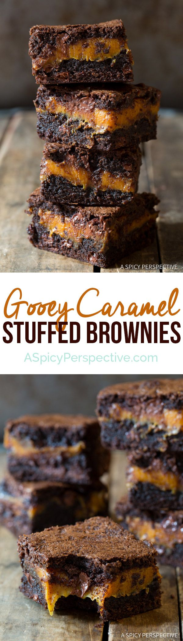 Gooey Caramel Stuffed Brownies   ASpicyPerspective.com